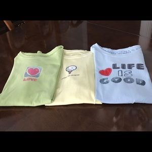 3 Life Is Good shirt-sleeve tops size S